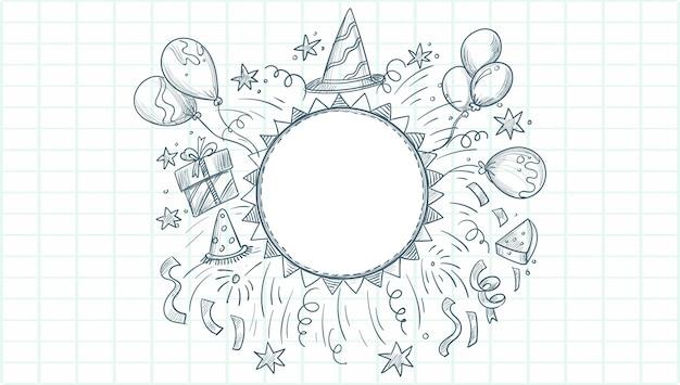Fond de célébration de croquis joyeux anniversaire