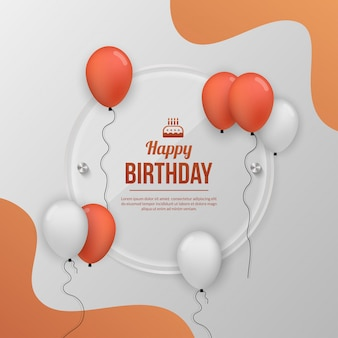 Fond de célébration de fête d'anniversaire avec ballon réaliste