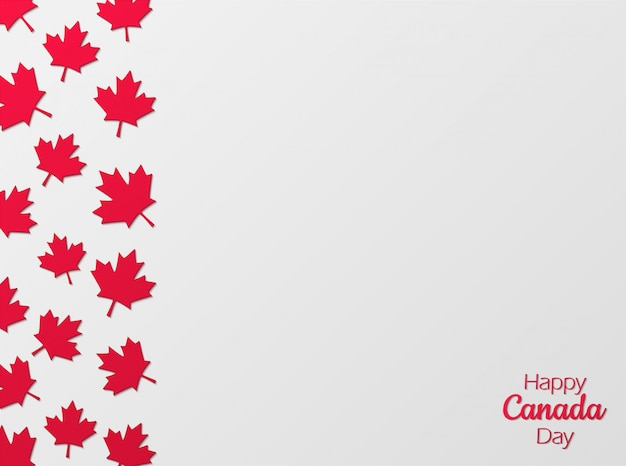 Fond de célébration de la fête du canada en papier coupé style.
