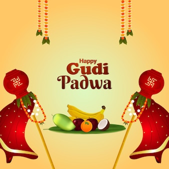 Fond de célébration gudi padwa réaliste
