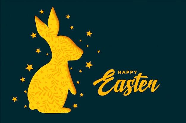 Fond de célébration de jour de pâques de lapin et étoile