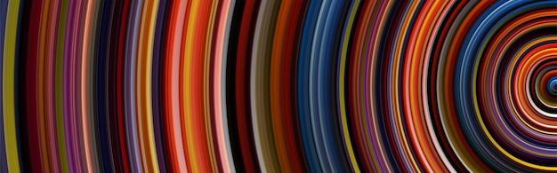 Fond de cercle abstrait avec des lignes courbes colorées et brillantes