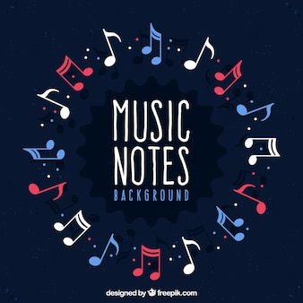 Fond de cercle composé de notes musicales