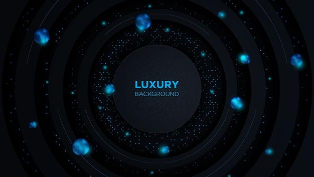 Fond de cercle de luxe abstrait avec demi-teinte dorée et boule de couleur bleue