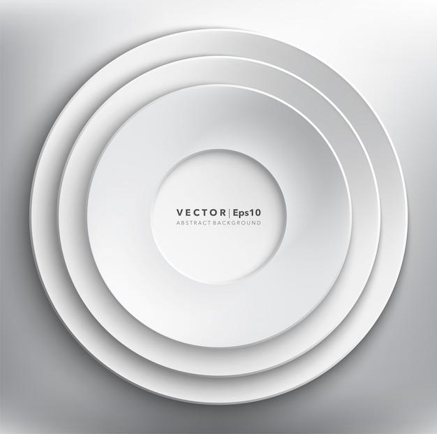Fond de cercles de papier blanc. cadre en papier rond.