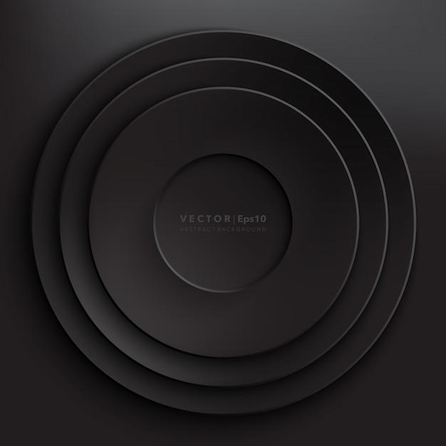 Fond de cercles de papier noir. cadre en papier rond.