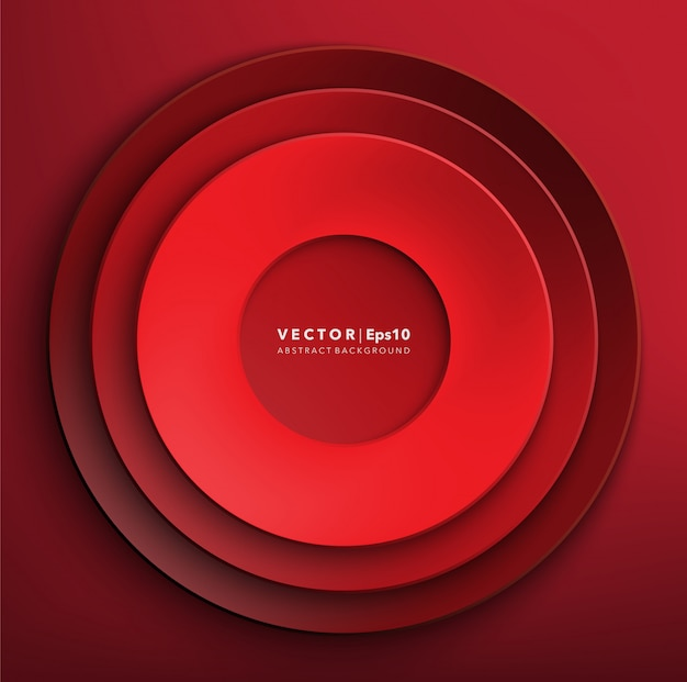 Fond de cercles de papier rouge. cadre en papier rond.