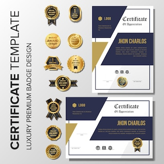 Fond de certificat d'or de luxe avec badge