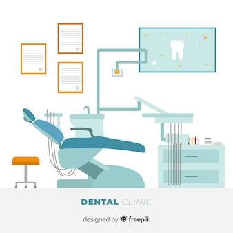 Fond de chaise de clinique dentaire plat