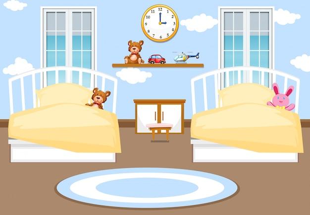 Fond de chambre à coucher intérieur enfants