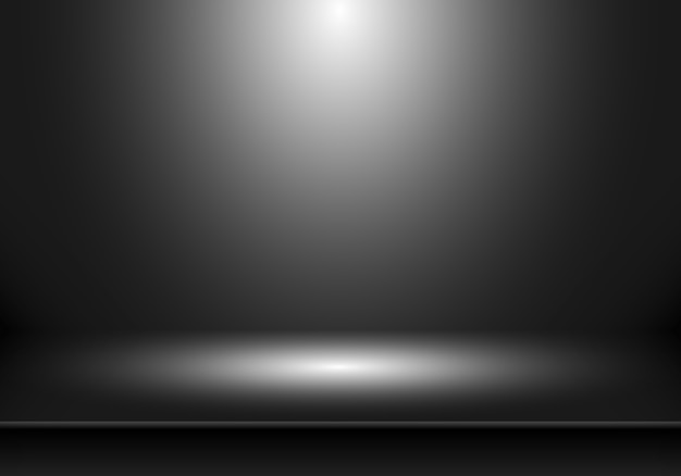 Fond de chambre studio vide noir 3d.