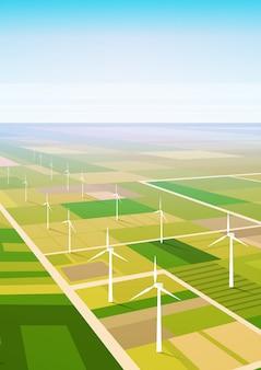 Fond de champ de la station d'énergie renouvelable d'énergie éolienne