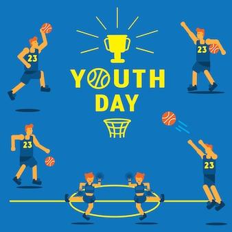 Fond de championnat de basket-ball de jour de la jeunesse