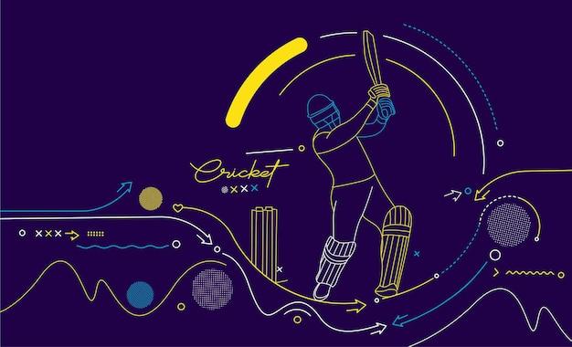 Fond de championnat de batteur de bannière horizontale de cricket. utiliser pour la couverture, l'affiche, le modèle, la brochure, la décoration, le dépliant, la bannière.