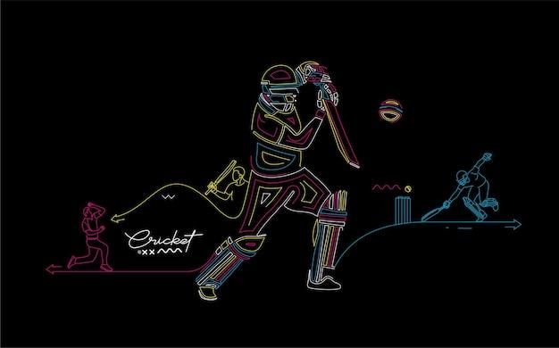 Fond de championnat de batteur de bannière de ligne plate arc-en-ciel de cricket. utiliser pour la couverture, l'affiche, le modèle, la brochure, la décoration, le dépliant, la bannière.