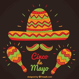 Fond chapeau mexicain avec maracas
