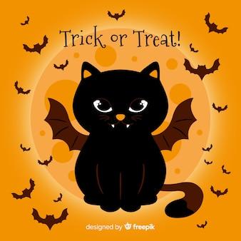 Fond de chat chauve-souris halloween