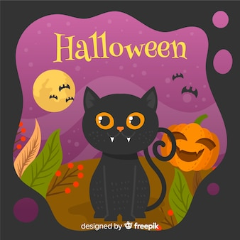 Fond de chat halloween au design plat