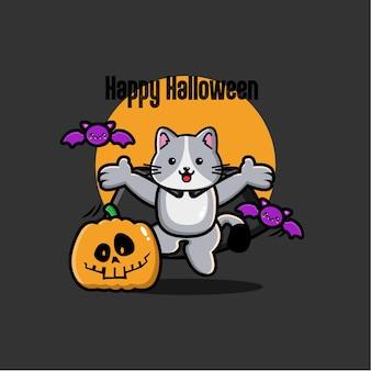 Fond de chat halloween au design plat
