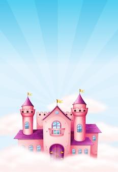 Fond de château de fée rose