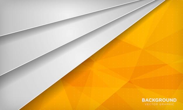 Fond de chevauchement abstrait blanc avec texture polygonale géométrique jaune.