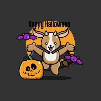 Fond de chèvre halloween au design plat