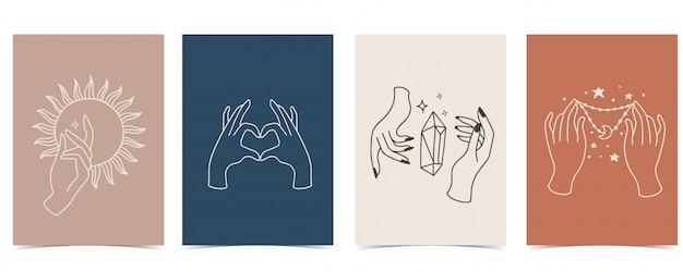 Fond chic serti de main, cristal, lune, étoile, coeur.