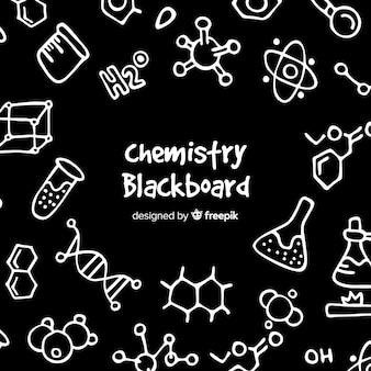 Fond de chimie dessiné à la main sur le tableau noir