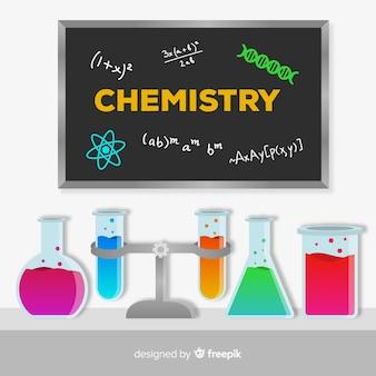 Fond de chimie plat coloré