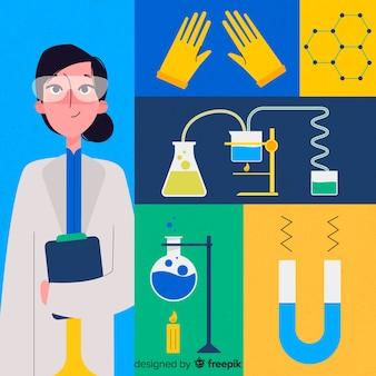 Fond de chimie plat