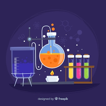 Fond de la chimie tirée par la main