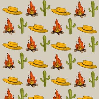 Fond de choses chapeau, cactus et feu de bois