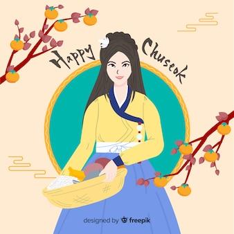 Fond de chuseok heureux dessiné à la main