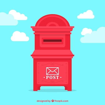 Fond de ciel avec boîte aux lettres rouge