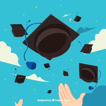 Fond de ciel avec des casquettes de graduation en conception plate