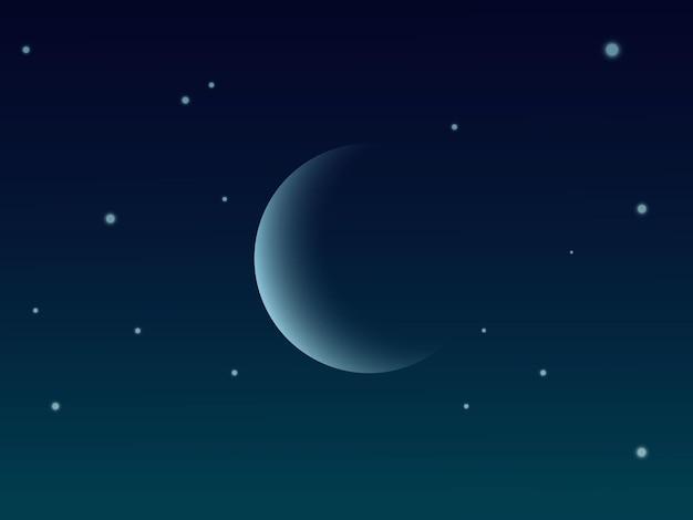 Fond de ciel avec étoiles et croissant moo