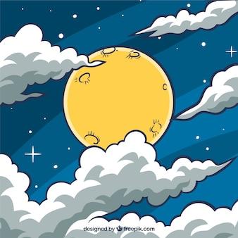Fond de ciel avec la lune et les nuages dessinés à la main