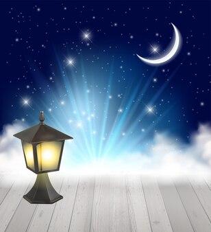 Fond de ciel de nature de nuit avec la lune, les nuages et les étoiles