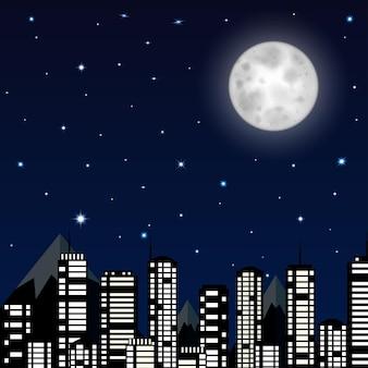 Fond de ciel nocturne avec la lune, les étoiles et la silhouette de la ville