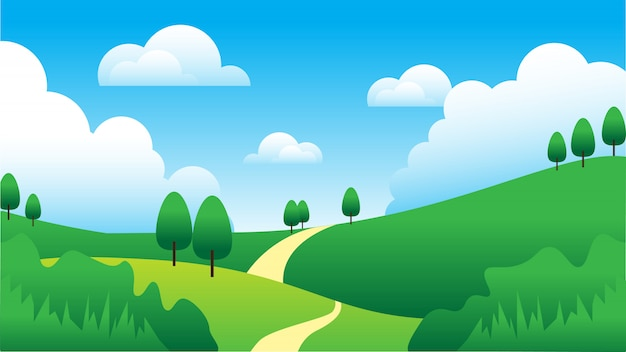 Fond de ciel, nuage, arbre et colline