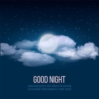 Fond de ciel de nuit, ciel nuageux avec lune.
