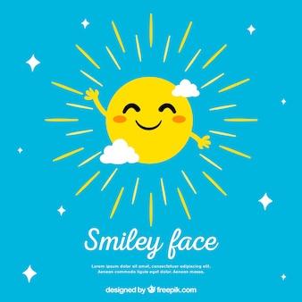 Fond de ciel avec le soleil souriant