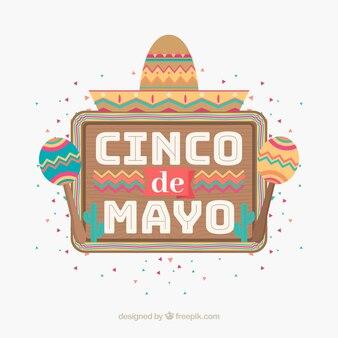 Fond de cinco de mayo avec des éléments mexicains
