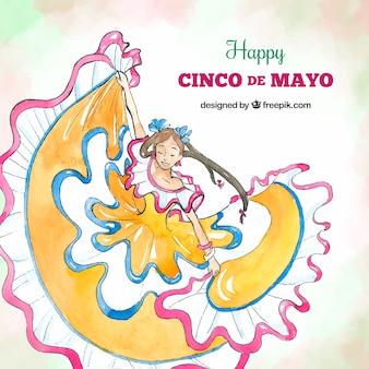 Fond de cinco de mayo avec femme dansant dans un style aquarelle