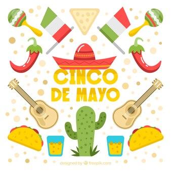 Fond de cinco de mayo avec de la nourriture traditionnelle