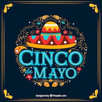Fond de cinco de mayo avec des ornements et un chapeau mexicain