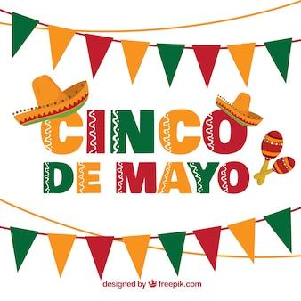 Fond de cinq de mayo avec des guirlandes et des chapeaux mexicains