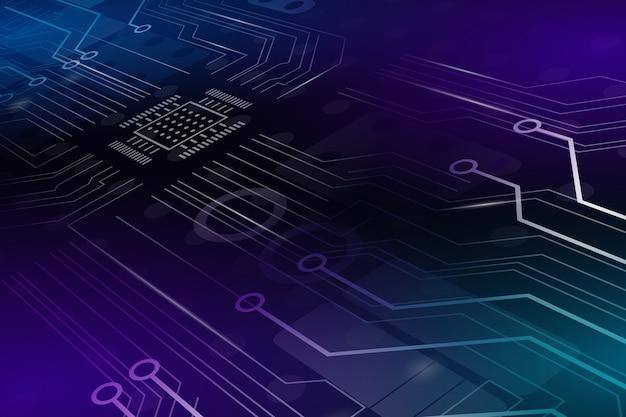 Fond de circuit imprimé au néon