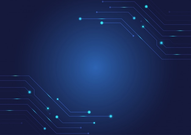 Fond de circuit imprimé bleu.