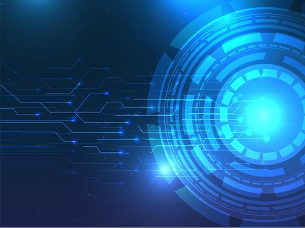Fond de circuit imprimé futuriste abstrait en couleur bleue.